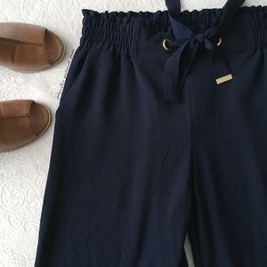MK Dark Blue + Gold Hardware Wide Leg Pants